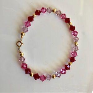 Pink and dark red crystal 14k gold filled bracelet